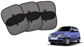 Riderscart Cotton Fabric Car Window Sunshades With Vacuum Cups;Large;Foldable Black Car Sun Shades - Set of 6 For Hyundai Santro Car