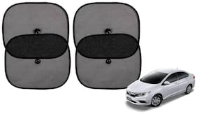Riderscart Cotton Fabric Car Window Sunshades With Vacuum Cups;Large;Foldable Black Car Sun Shades - Set of 4 For Honda City Car