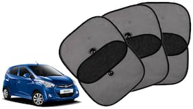 Riderscart Cotton Fabric Car Window Sunshades With Vacuum Cups;Large;Foldable Black Car Sun Shades - Set of 6 For Hyundai Eon Car