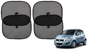 Riderscart Cotton Fabric Car Window Sunshades With Vacuum Cups;Large;Foldable Black Car Sun Shades - Set of 4 For Maruti Suzuki Ritz Car