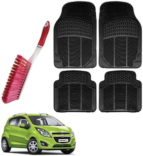 Riderscart Car Foot Mat Floor Mate Black PVC Rubber Perfect Fit For Chevrolet Beat (Black) With Free Cleaning Brush Hard & Long Bristles For Car Seat / Carpet / Mats