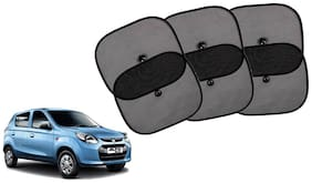 Riderscart Cotton Fabric Car Window Sunshades With Vacuum Cups;Large;Foldable Black Car Sun Shades - Set of 6 For Maruti Suzuki Alto 800 Car