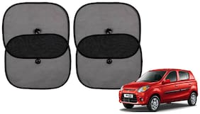 Riderscart Cotton Fabric Car Window Sunshades With Vacuum Cups;Large;Foldable Black Car Sun Shades - Set of 4 For Maruti Suzuki Alto K 10 Car