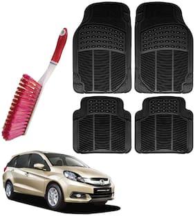Riderscart Car Foot Mat Floor Mate Black PVC Rubber Perfect Fit For Honda Mobilio (Black) With Free Cleaning Brush Hard & Long Bristles For Car Seat / Carpet / Mats