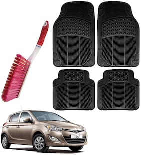 Riderscart Car Foot Mat Floor Mate Black PVC Rubber Perfect Fit For Hyundai i20 (Black) With Free Cleaning Brush Hard & Long Bristles For Car Seat / Carpet / Mats