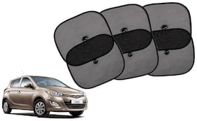 Riderscart Cotton Fabric Car Window Sunshades With Vacuum Cups;Large;Foldable Black Car Sun Shades - Set of 6 For Hyundai i 20 Car