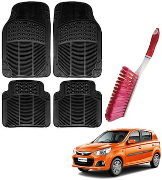Riderscart Car Foot Mat Floor Mate Black PVC Rubber Perfect Fit For Maruti Suzuki Alto K 10 (Black) With Free Cleaning Brush Hard & Long Bristles For Car Seat / Carpet / Mats