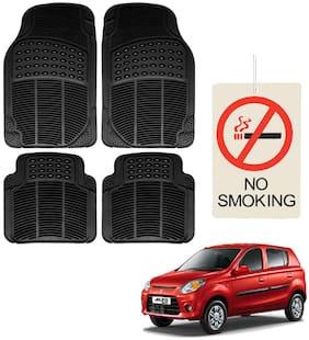 Riderscart Premium Quality Rubber 4 Pcs Mat With No Smoking Hanging Air Freshner For Maruti Suzuki Alto 800 Car