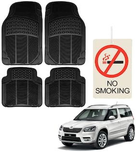 Riderscart Premium Quality Rubber 4 pc Mat With No Smoking Hanging Air Freshner For Skoda Yeti Car