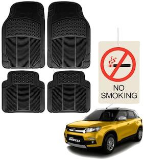 Riderscart Premium Quality Rubber 4 pc Mat With No Smoking Hanging Air Freshner For Maruti Suzuki Vitara Brezza Car