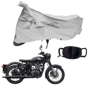Riderscart Silver Two Wheeler Bike Cover With Unisex Cotton Anti Pollution Mask For Royal Enfield Classic Stealth Silver