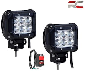 Riderscart Universal 6 LED Waterproof Bar Light with ON/OFF Switch for Cars and Motorcycle / Bike Fog Light (2 PC, 24W, White Light)