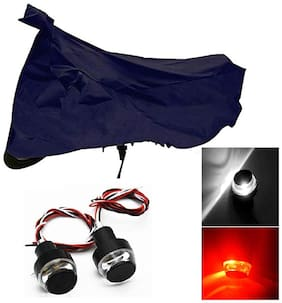 Riderscart Waterproof Bike Cover for All Bikes Indoor Outdoor Protection (Blue) Combo with Handle Bar Light (White & Red)