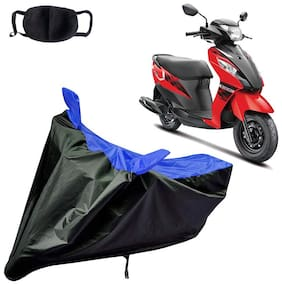 Riderscart Water Proof Black and Blue Bike Cover For Suzuki Lets With Pollution Mask