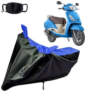 Riderscart Water Proof Black and Blue Bike Cover For Tvs Jupiter With Pollution Mask