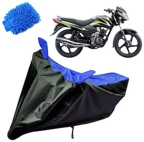 Riderscart Water Proof Black and Blue Bike Cover For TVS Sports With Blue Microfiber Glove