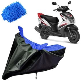 Riderscart Water Proof Black and Blue Bike Cover For Yamaha Ray Z With Blue Microfiber Glove