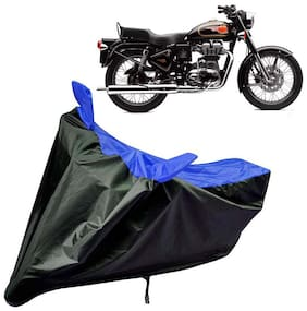 Riderscart Water Proof Black and Blue Bike Cover For Royal Enfield Bullet 500