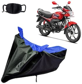 Riderscart Water Proof Black and Blue Bike Cover For Hero Passion Pro With Pollution Mask