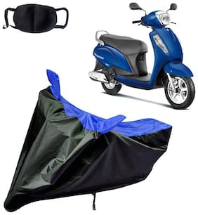 Riderscart Water Proof Black and Blue Bike Cover For Suzuki Access 125 With Pollution Mask