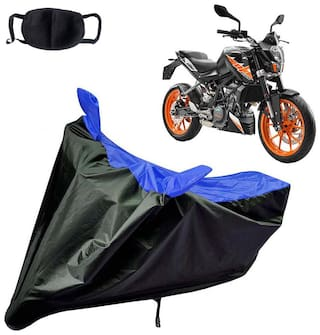 Riderscart Water Proof Black and Blue Bike Cover For KTM Duke 200 With Pollution Mask