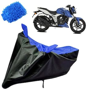 Riderscart Water Proof Black and Blue Bike Cover For TVS Apache 160 With Blue Microfiber Glove