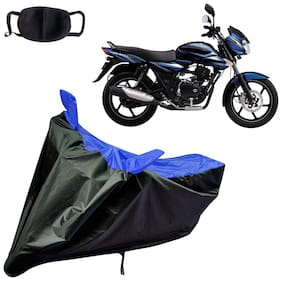 Riderscart Water Proof Black and Blue Bike Cover For Bajaj Discover 100 With Pollution Mask