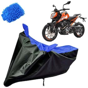 Riderscart Water Proof Black and Blue Bike Cover For KTM Duke 250 With Blue Microfiber Glove