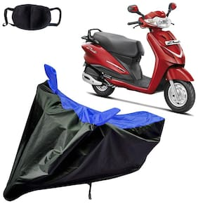 Riderscart Water Proof Black and Blue Bike Cover For Hero Duet With Pollution Mask
