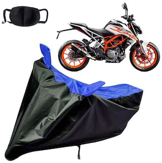 Riderscart Water Proof Black and Blue Bike Cover For KTM Duke 390 With Pollution Mask