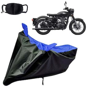 Riderscart Water Proof Black and Blue Bike Cover For Royal Enfield Classic Black Stealth With Pollution Mask