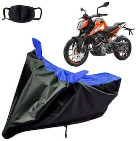Riderscart Water Proof Black and Blue Bike Cover For KTM Duke 250 With Pollution Mask