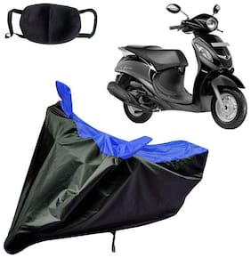 Riderscart Water Proof Black and Blue Bike Cover For Yamaha Fascino With Pollution Mask