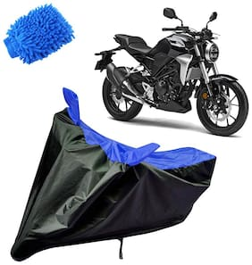 Riderscart Water Proof Black and Blue Bike Cover For Honda CBR 150 With Blue Microfiber Glove