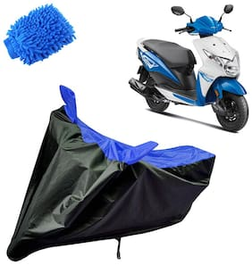 Riderscart Water Proof Black and Blue Bike Cover For Honda Dio With Blue Microfiber Glove