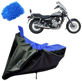Riderscart Water Proof Black and Blue Bike Cover For Bajaj Avenger 220 Cruise With Blue Microfiber Glove