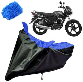 Riderscart Water Proof Black and Blue Bike Cover For TVS Star City With Blue Microfiber Glove