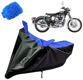 Riderscart Water Proof Black and Blue Bike Cover For Royal Enfield Classic Chrome With Blue Microfiber Glove