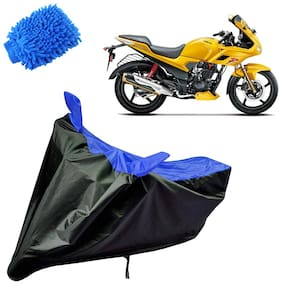 Riderscart Water Proof Black and Blue Bike Cover For Hero Karizma With Blue Microfiber Glove