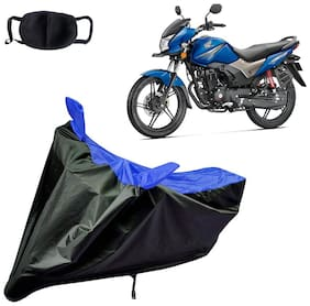 Riderscart Water Proof Black and Blue Bike Cover For Honda CB Shine With Pollution Mask