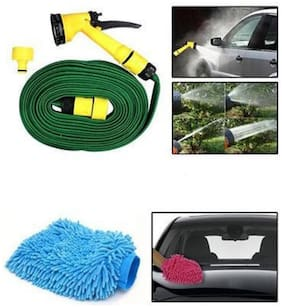 Right traders Combo Of 10m Water Spray Hose Gun Microfiber Glove