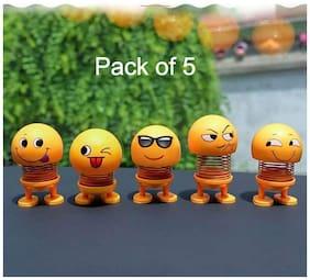 Roeid pack of 5 Smiley Spring Doll;Cute Emoji for Car Dashboard