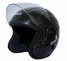 Rotomac Touch Black Open Face ISI Motorbike Helmet