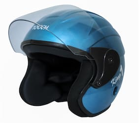 Rotomac Touch Open Face Solid (ISI Certified) Motorbike Helmet (Blue)