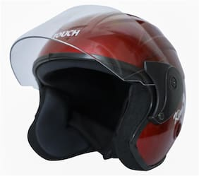 Rotomac Touch Open Face Solid (ISI Certified) Motorbike Helmet (Red)