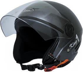 Rotomac Track Silver Black Open Face ISI Motorbike Helmet