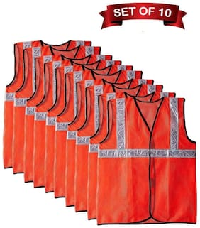CARZEX Reflective 2 PVC Safety Jacket Orange Fabric Type (Set Of 10)