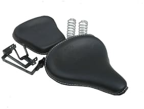 Sahara Seats Harley type Slim Seat for CLASSIC 350 and CLASSIC 500 with Spring Front and Rear Seat (Set of 2, Black)