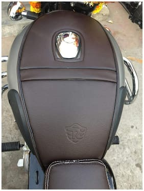 SaharaSeats Classic 350/500 and Bullet (Standard and Electra) Tank Cover (Gunmetal Grey Coffee Brown)