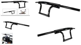 SBA Entice Bullet Bike Customized  Handle Bar Dual Triple Curved Pipe Handlebar Black  For Royal Enfield Himalayan